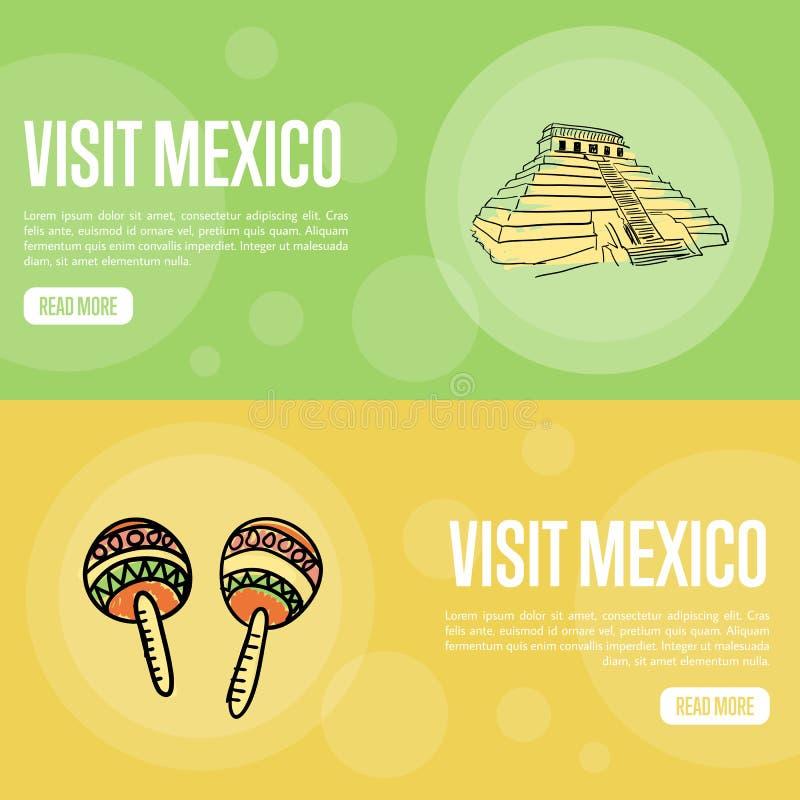 Bandeiras turísticas da Web do vetor de México da visita ilustração do vetor
