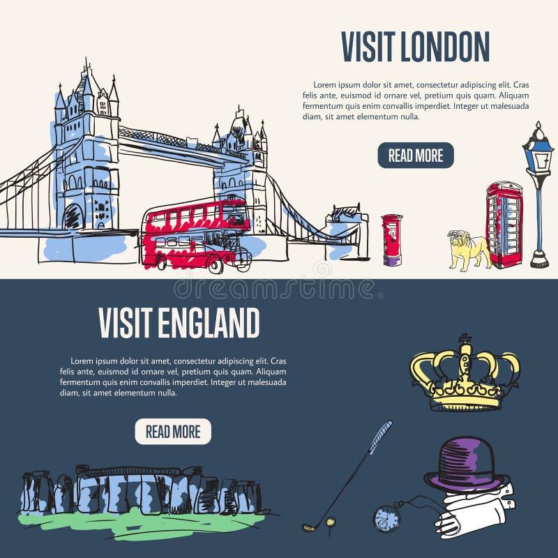 Bandeiras turísticas de visita da Web de Inglaterra e de Londres ilustração stock