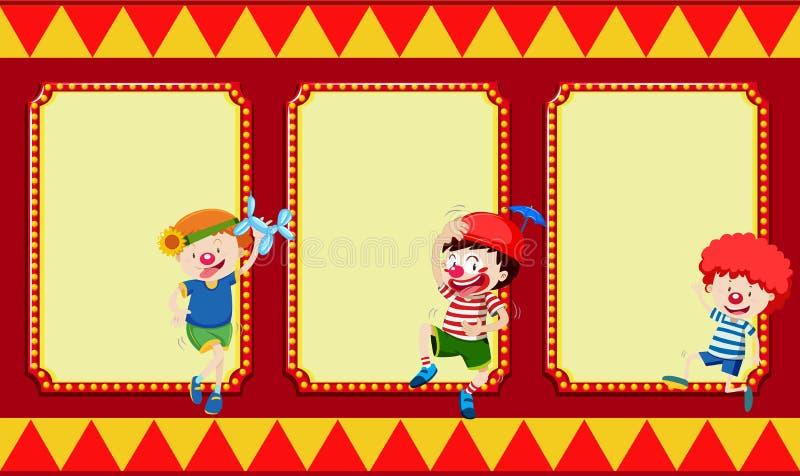Bandeiras vazias com crianças do circo ilustração royalty free