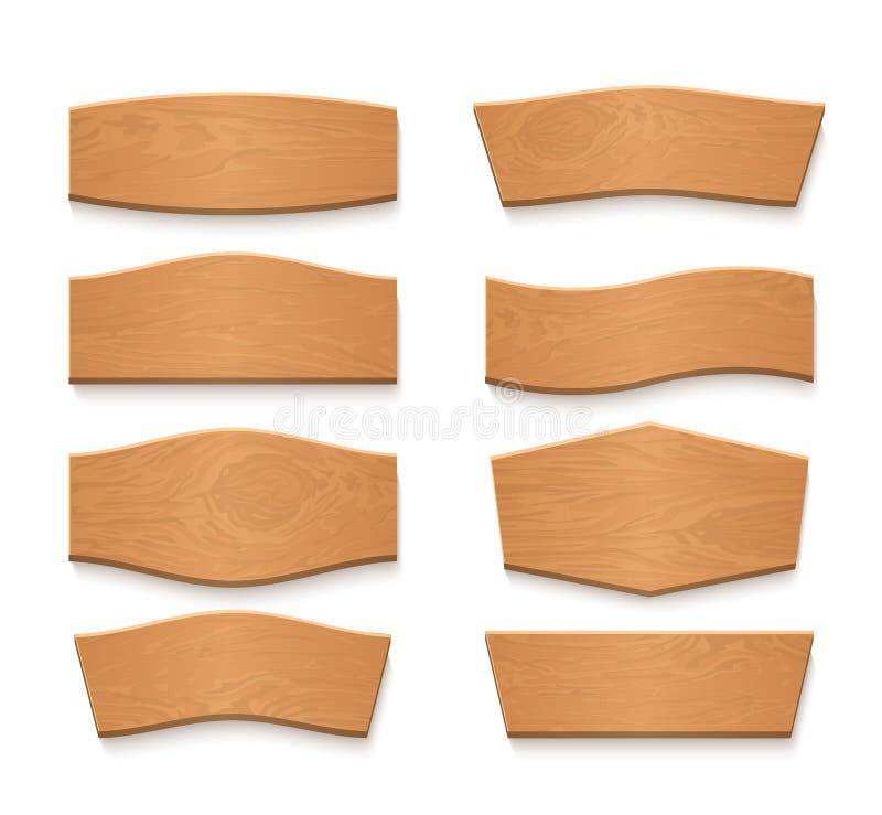 Bandeiras vazias do vetor da placa marrom de madeira dos desenhos animados Fitas de madeira do vintage ajustadas ilustração do vetor