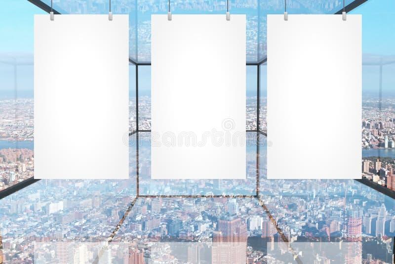 Bandeiras vazias na sala de vidro ilustração royalty free