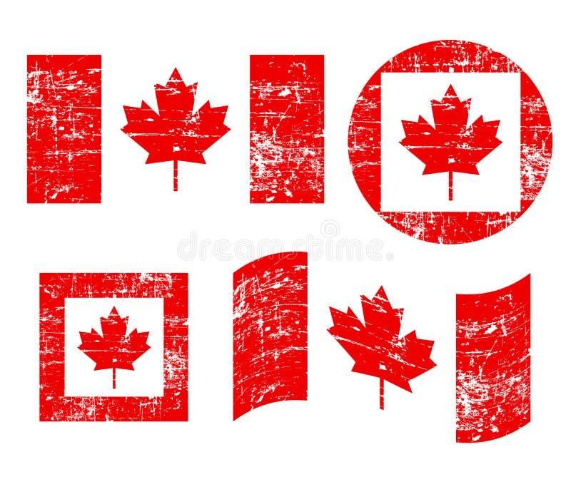 Bandeiras velhas do grunge de Canadá, isoladas no fundo branco, ilustração ilustração stock