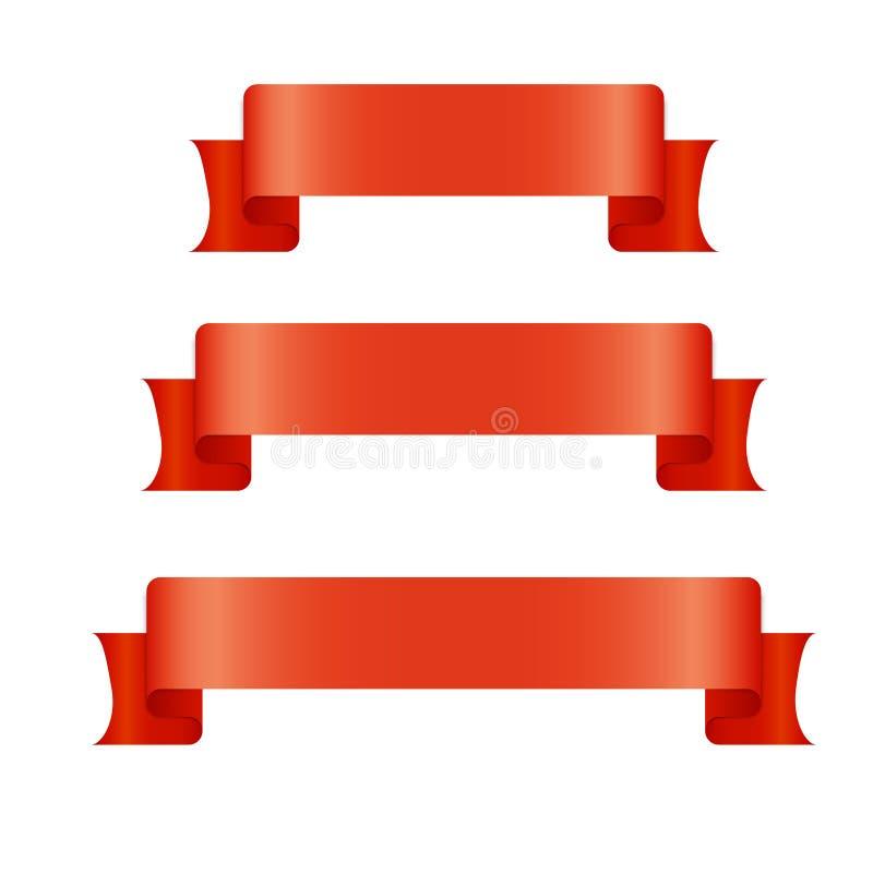 Bandeiras vermelhas da fita ajustadas Placa bonita para o gráfico da decoração Projeto velho do estilo do vintage ilustração royalty free