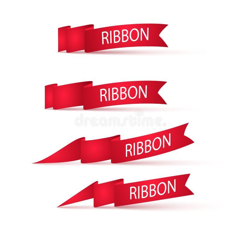Bandeiras vermelhas das fitas Ajuste dos sinais de propaganda ilustração stock