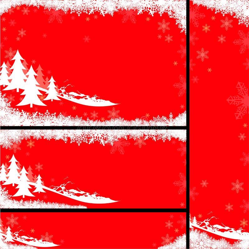 Bandeiras vermelhas do Natal ilustração do vetor