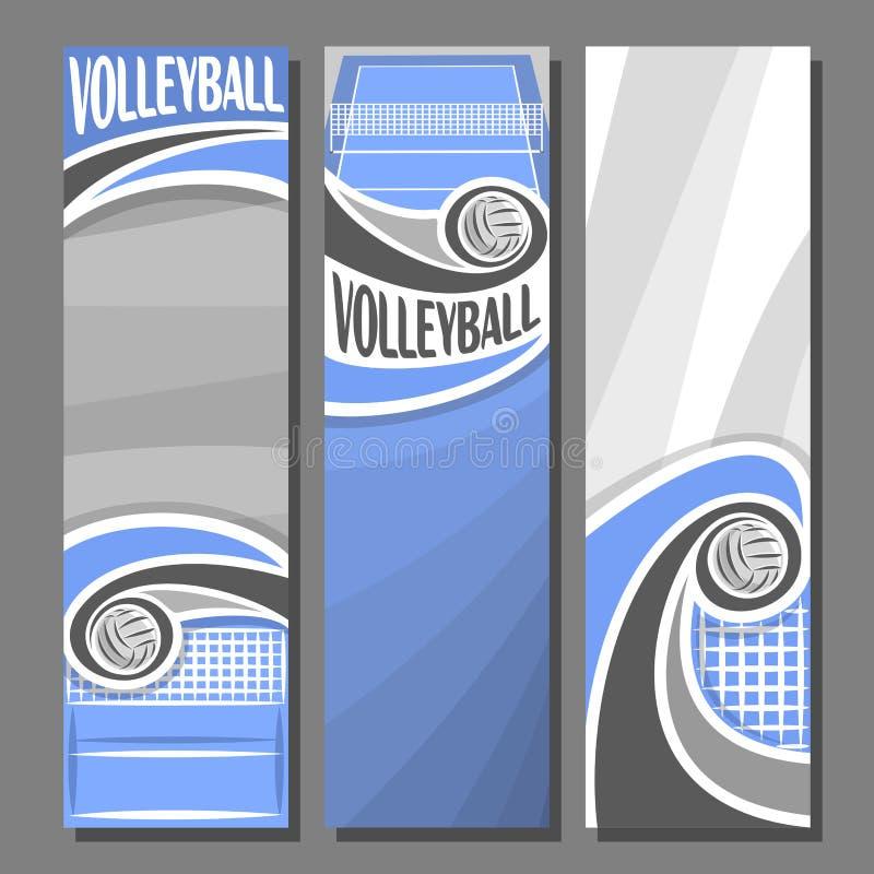Bandeiras verticais ajustadas do vetor para o voleibol ilustração royalty free