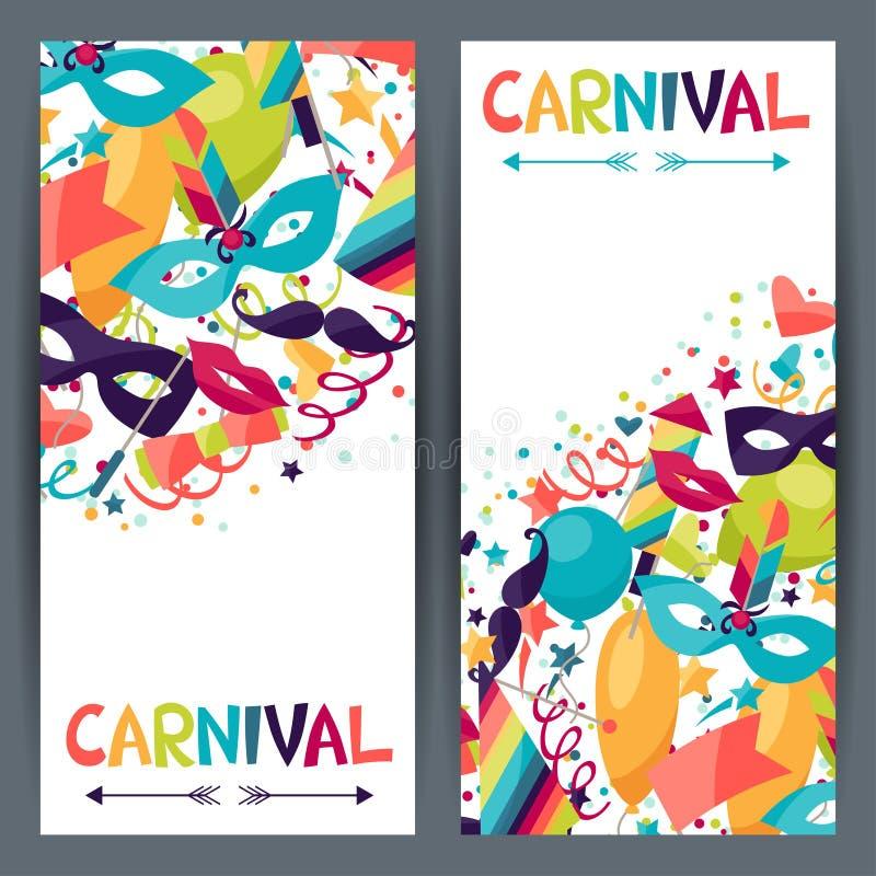Bandeiras verticais da celebração com ícones do carnaval ilustração do vetor