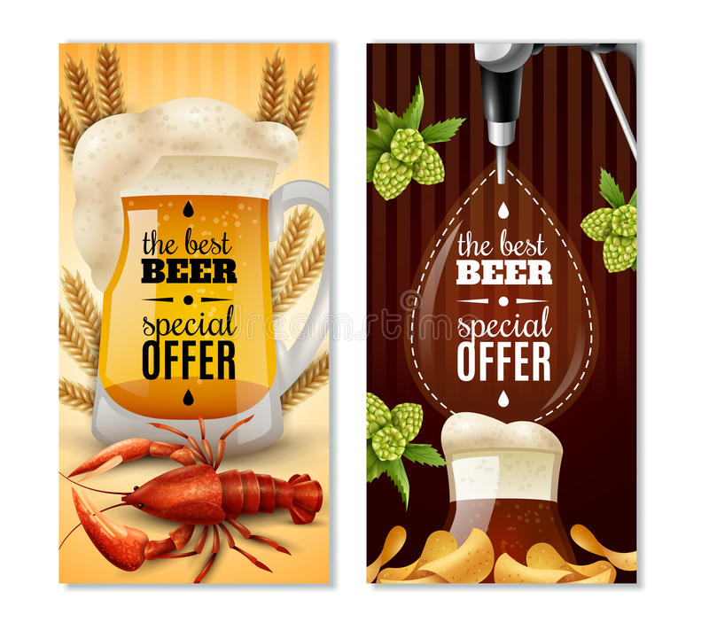 Bandeiras verticais da cerveja clara 2 escuros ajustadas ilustração royalty free