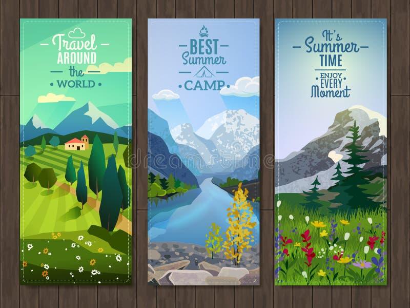 Bandeiras verticais da paisagem do verão ajustadas ilustração royalty free