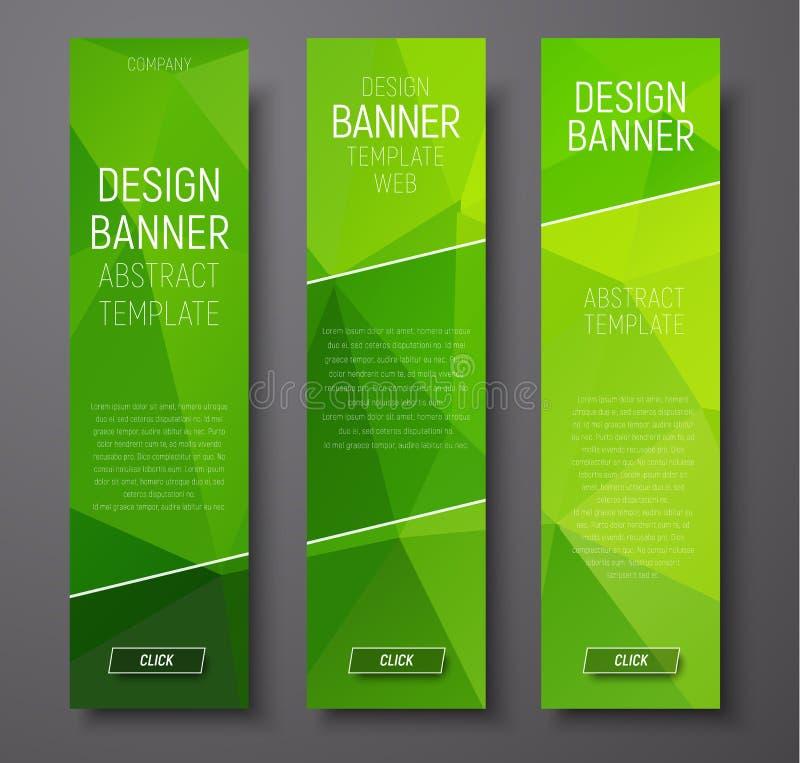 Bandeiras verticais da Web com polígono verde abstrato do fundo ilustração do vetor