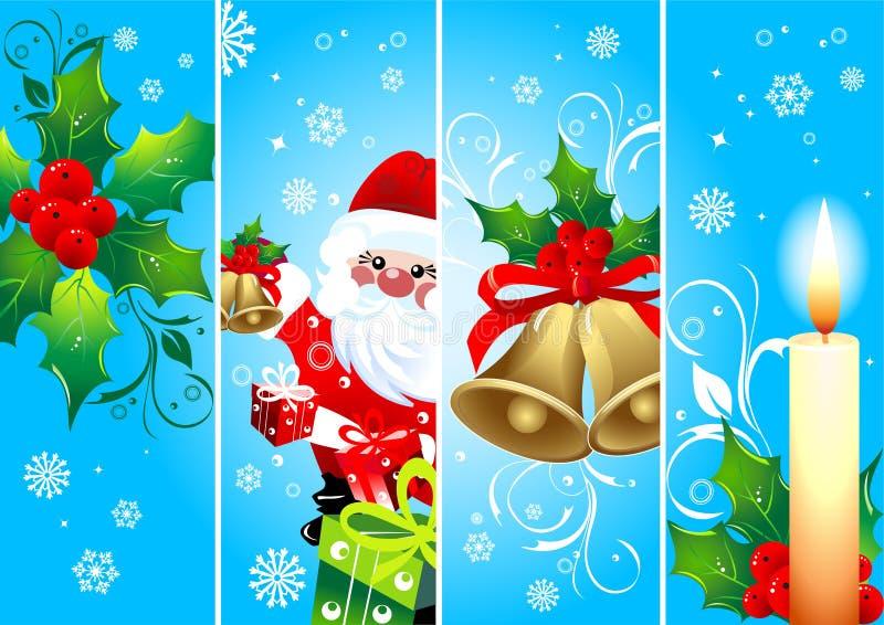 Bandeiras verticais do azul do Natal ilustração stock
