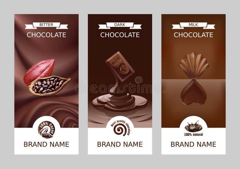 Bandeiras verticais do chocolate do vetor realístico ajustado ilustração stock