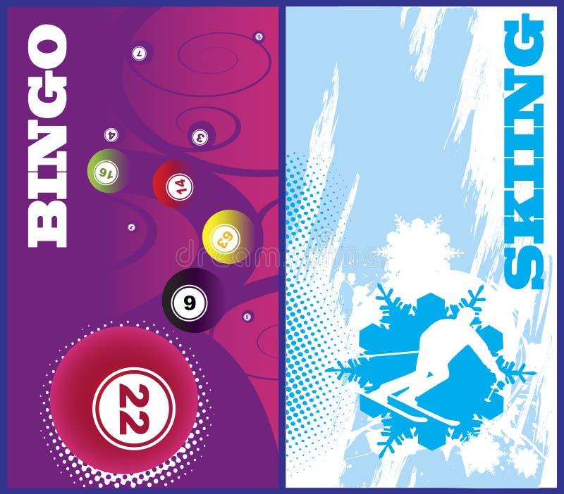 Bandeiras verticais do esqui e do bingo ilustração royalty free