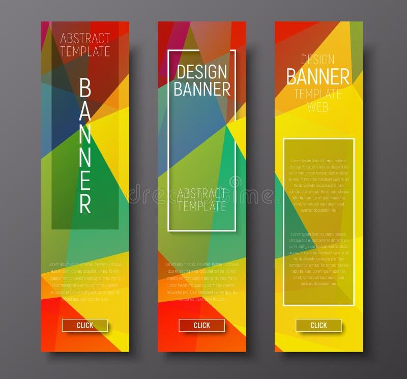 Bandeiras verticais do projeto com fundo multi-colorido poligonal ilustração do vetor
