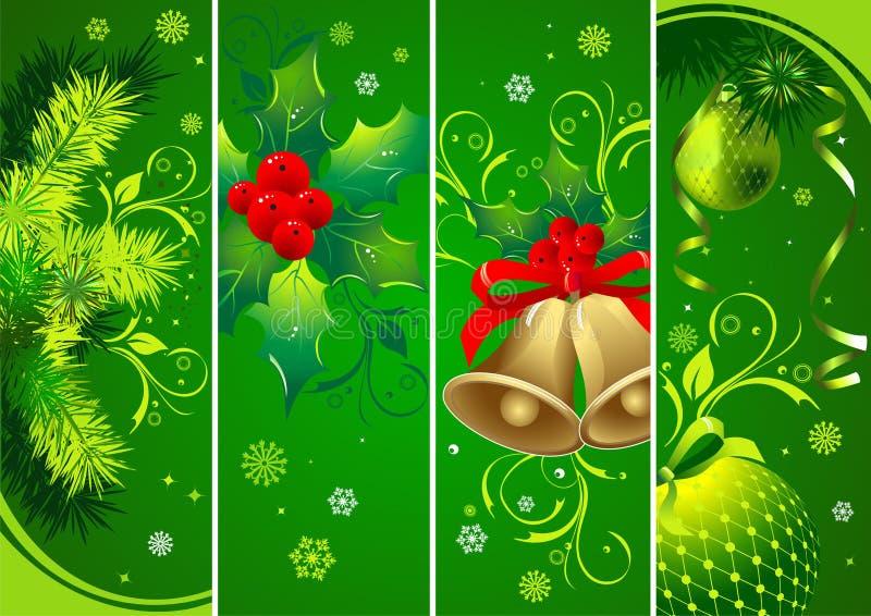 Bandeiras verticais do verde do Natal ilustração royalty free