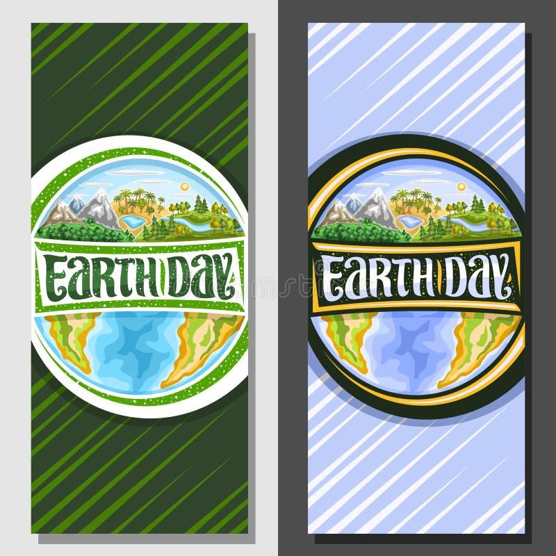 Bandeiras verticais do vetor para o Dia da Terra ilustração stock