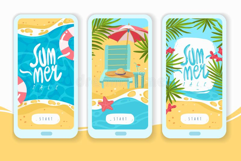 Bandeiras verticais dos artigos das férias de verão ilustração royalty free