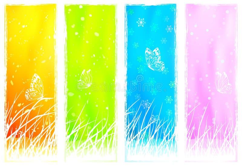 Bandeiras verticais gramíneas florais ilustração do vetor