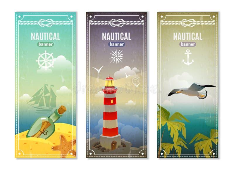 Bandeiras verticais náuticas do mar retro ilustração stock