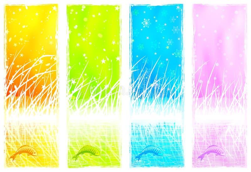 Bandeiras verticais naturais com um peixe de salto ilustração do vetor