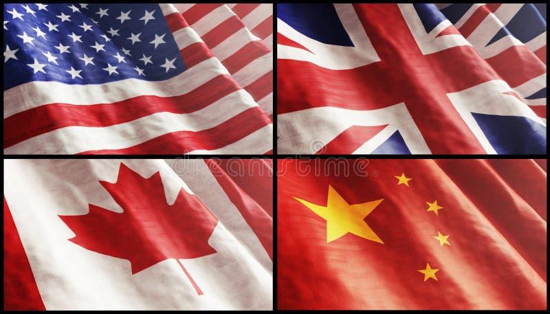 Bandeiras XL. EUA, Inglaterra, Canadá E China Fotos de Stock