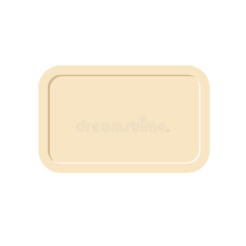 Bandeja aislada bandeja vacía en el fondo blanco stock de ilustración