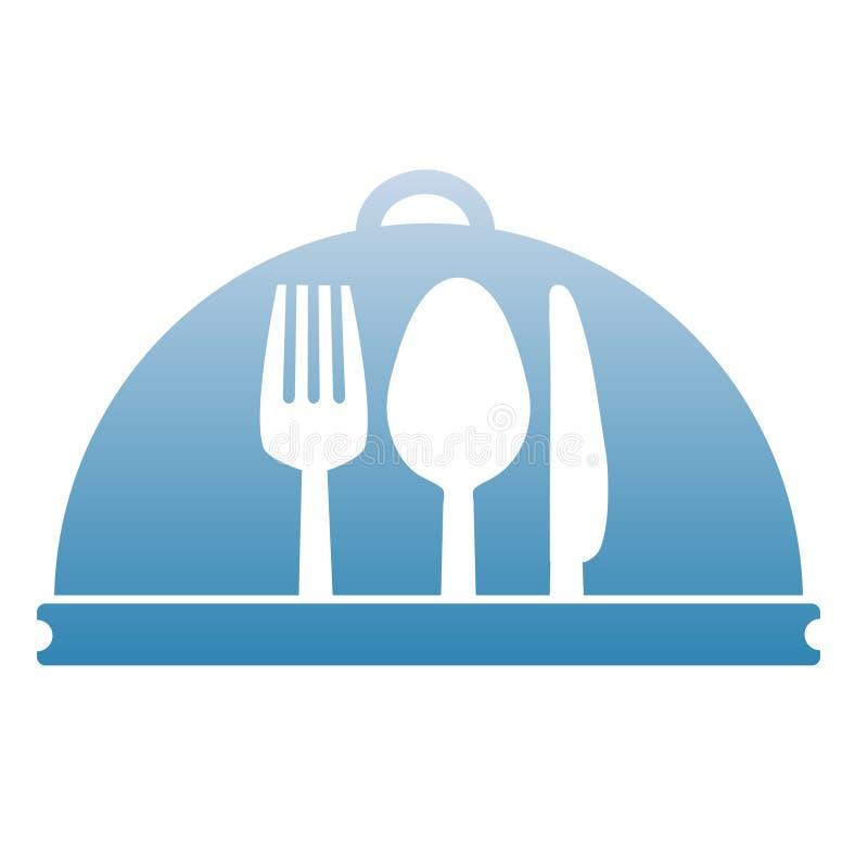 Bandeja, bifurcación, cuchara, cuchillo en el diseño del menú, illustratio común del vector stock de ilustración