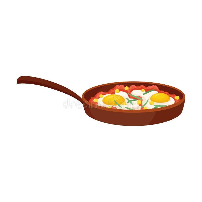 Bandeja com ovos fritos Ilustra??o do vetor no fundo branco ilustração do vetor