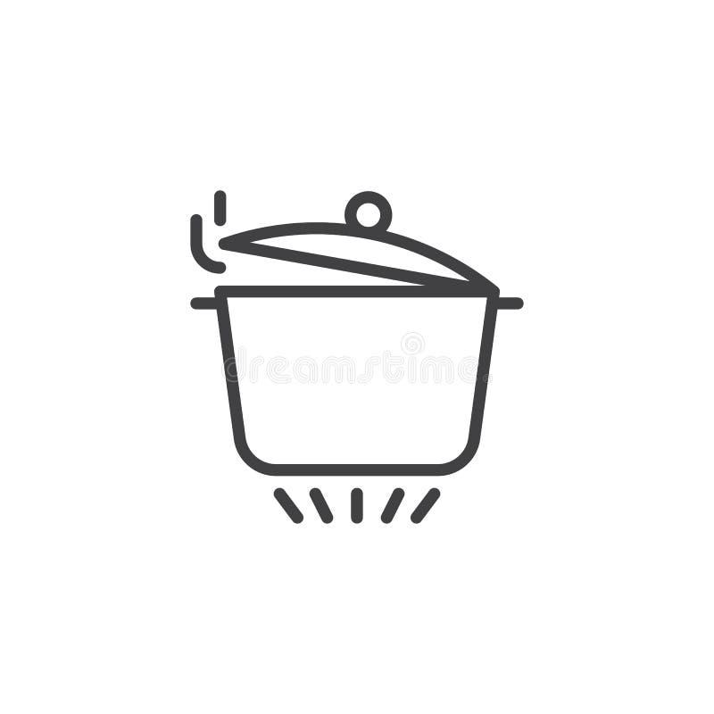 Bandeja com tampa aberta no fogão de gás ilustração royalty free