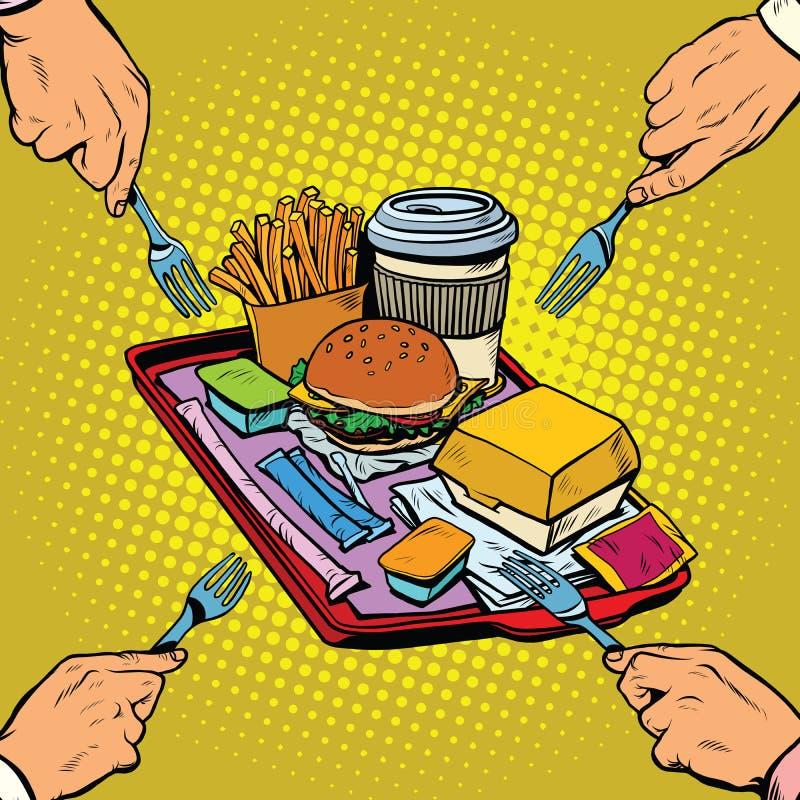 Bandeja completa de fast food ilustração stock