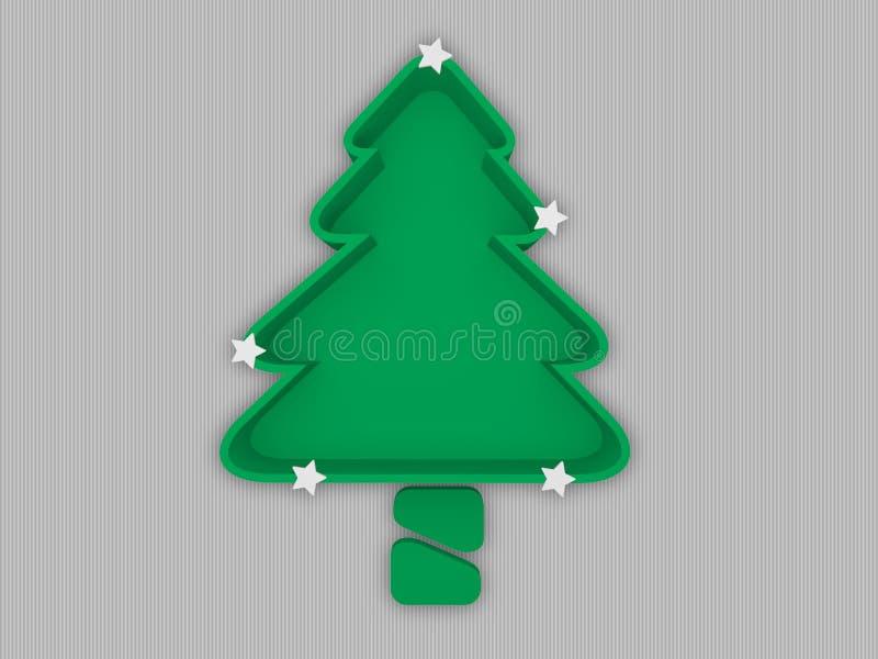 Bandeja da árvore de Natal com tronco e as estrelas brancas, conceito do festival ilustração stock
