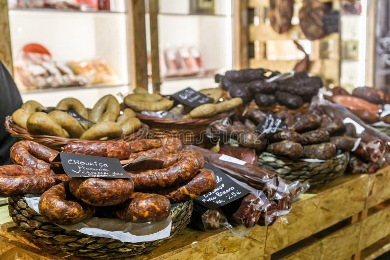 Bandeja da carne e da salsicha fotografia de stock royalty free