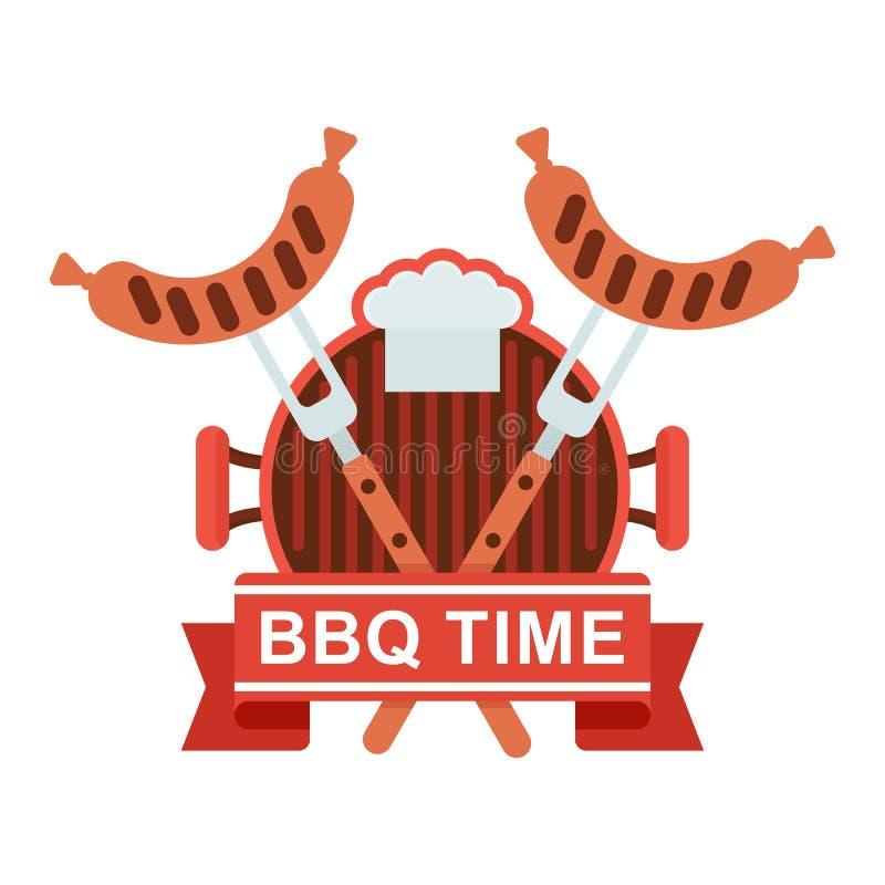 Bandeja da grade do logotipo do BBQ ilustração royalty free