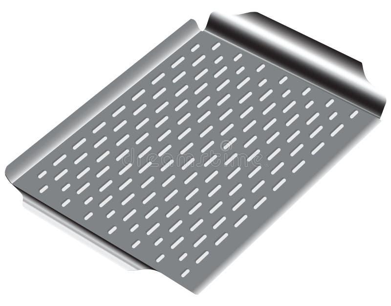 Bandeja de aço com superfície ondulada ilustração do vetor