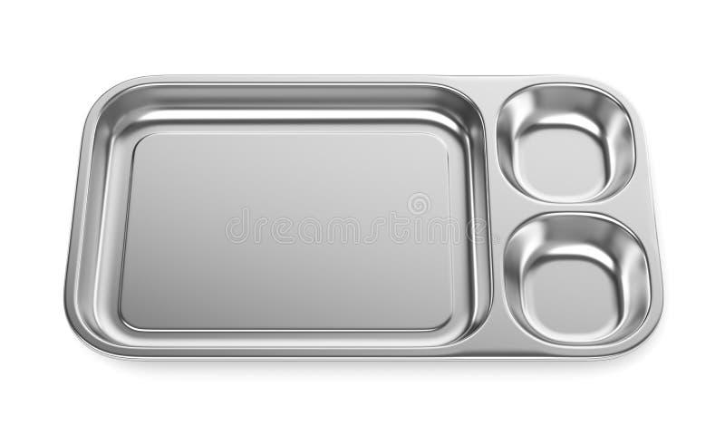 Bandeja de acero de la comida o lavabo médico aislado en blanco libre illustration