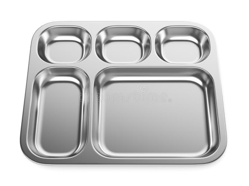 Bandeja de acero de la comida o lavabo m?dico aislado en blanco ilustración del vector