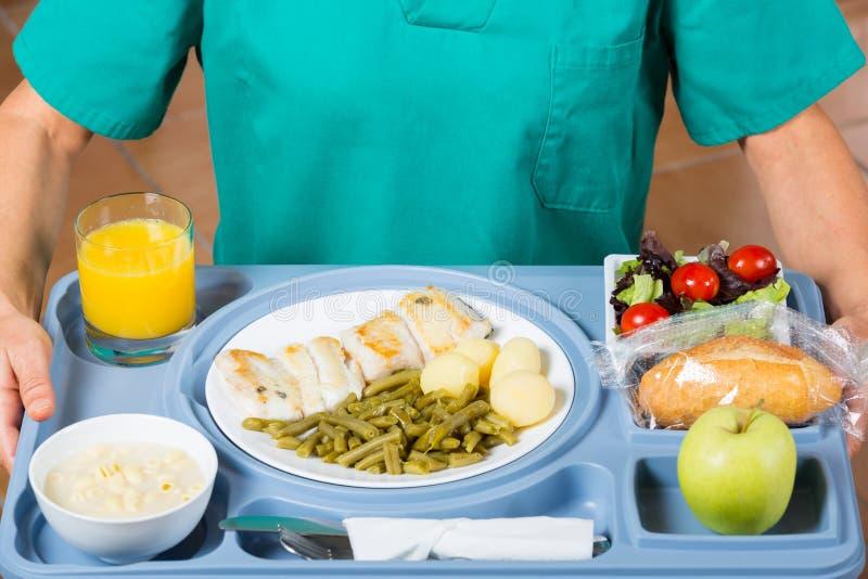Bandeja de la comida de un hospital foto de archivo