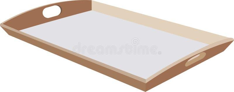 Bandeja de madeira para o transporte do alimento ilustração stock