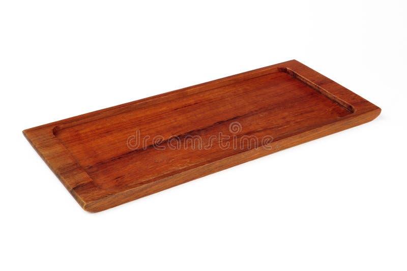 Bandeja de madeira vazia isolada fotografia de stock royalty free