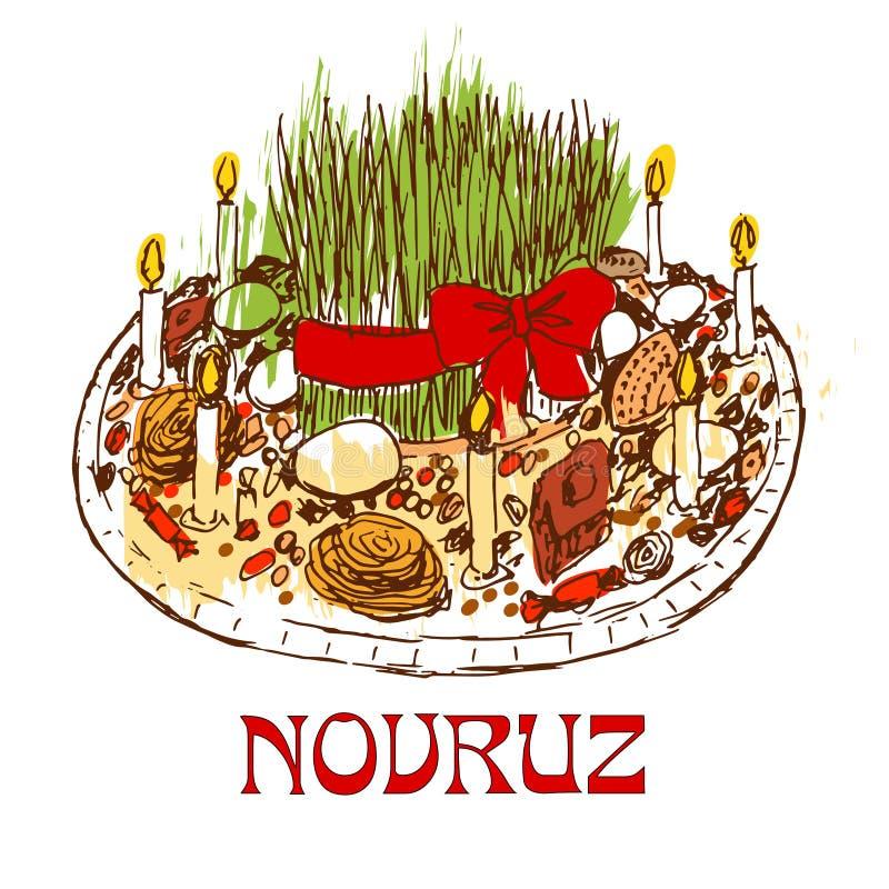 Bandeja de Novruz com doces e velas ilustração royalty free