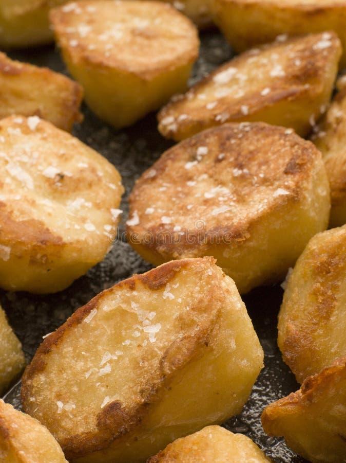 Bandeja de patatas de la carne asada con la sal del mar fotografía de archivo