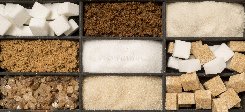 Bandeja de tipos clasificados del azúcar fotografía de archivo libre de regalías
