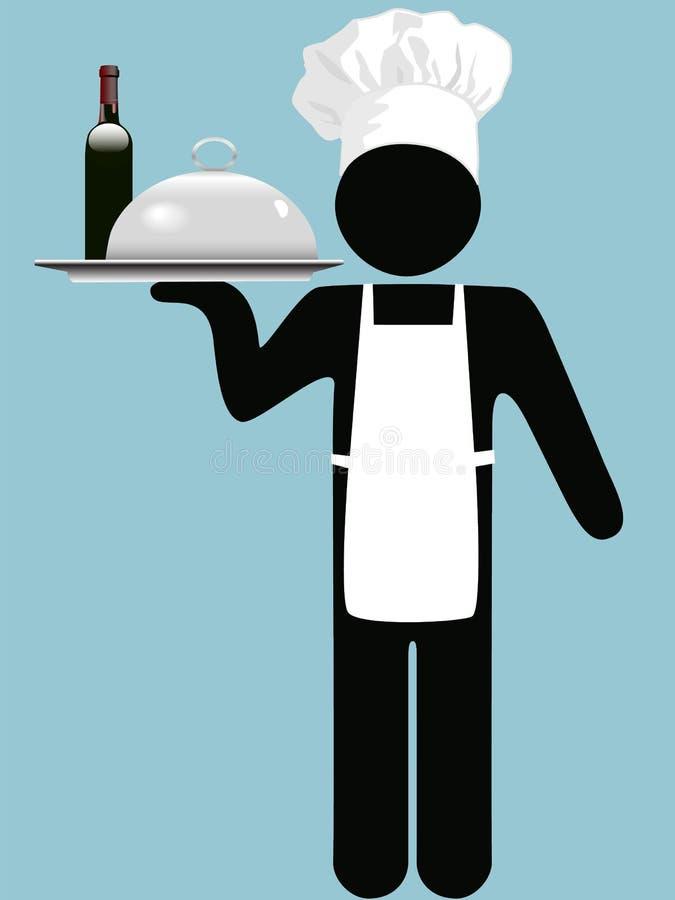 Bandeja del alimento del vino del camarero del cocinero del restaurante stock de ilustración