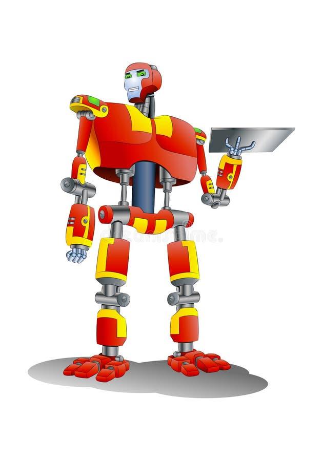 Bandeja del metal del control del robot ilustración del vector