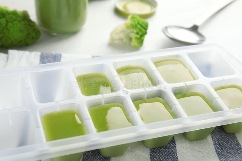 Bandeja do cubo de gelo com comida para bebê saudável imagens de stock