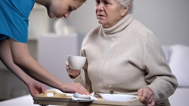 Bandeja do jantar do serviço do trabalhador médico à mulher idosa doente no centro médico foto de stock
