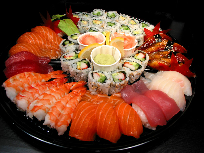 Bandeja do partido do sushi fotos de stock