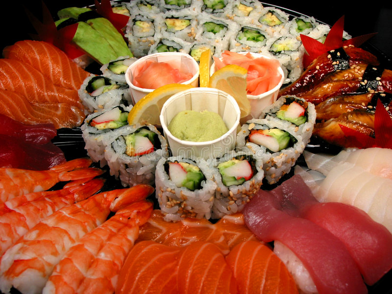 Bandeja do partido do sushi, close up fotografia de stock