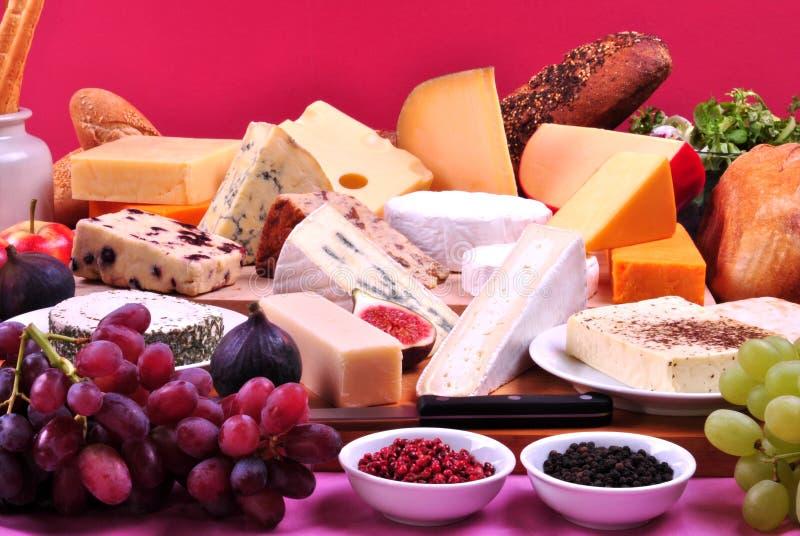 Bandeja do queijo com algum queijo fresco fotografia de stock