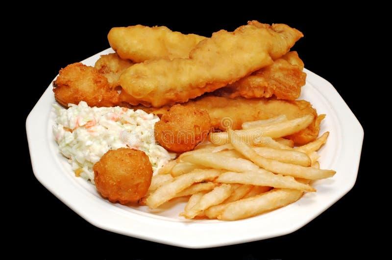 Bandeja fritada dos peixes fotografia de stock